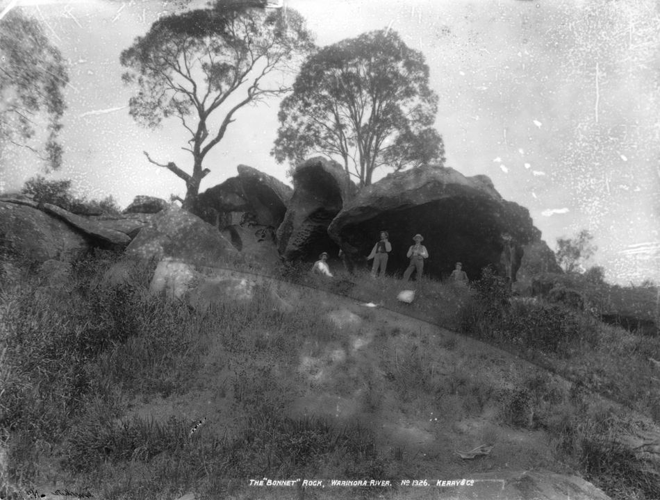85/1284-618 Glass plate negative, full plate, 'The Bonnet Rock, Waranora River' [sic], Kerry and Co, Sydney, Australia, c. 1884-1917. Click to enlarge.