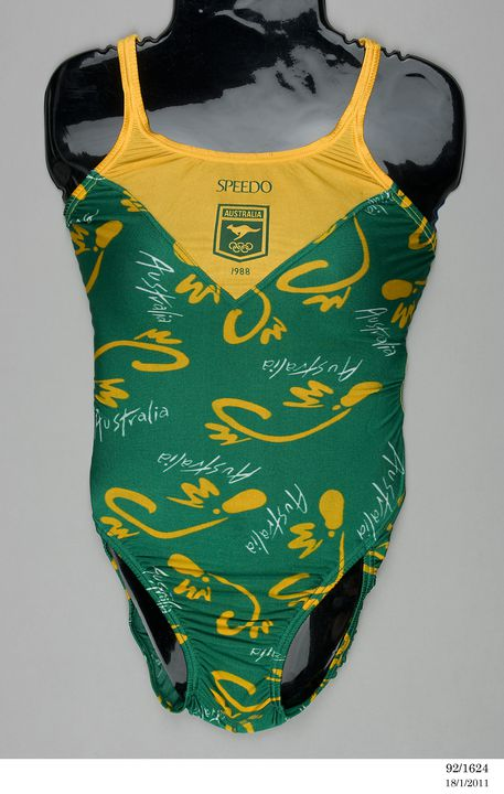92/1624 Woman's swimsuit, 1988 Seoul Olympic Games, as used by the Australian Team, nylon / lycra, Speedo Australia Pty Ltd, Australia, 1988. Click to enlarge.