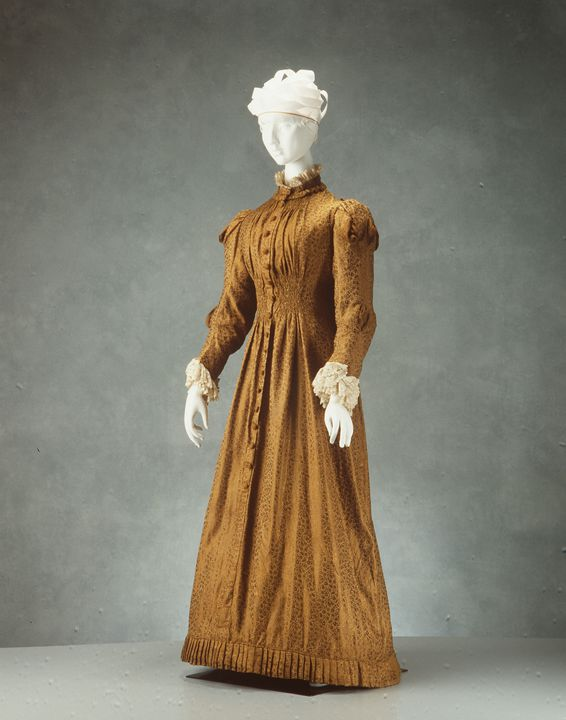 H6978 Dress, womens, silk / cotton / metal, maker unknown, place of production unknown, c. 1880. Click to enlarge.