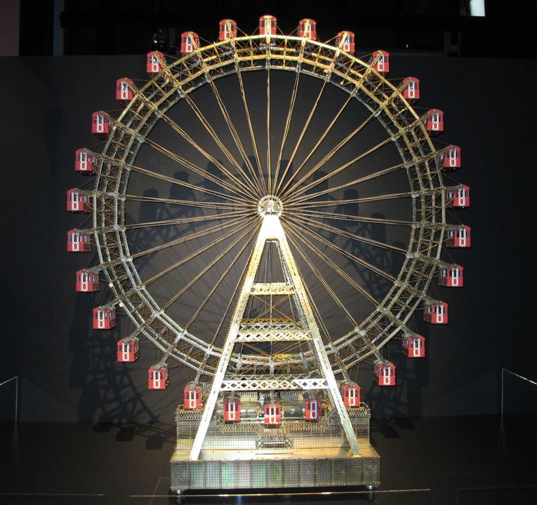 2012/120/1 Construction toy model, based on the giant ferris wheel in Vienna, Austria, metal, made from pieces of Meccano manufactured by Meccano Ltd, Liverpool, England, and Marklin Metall, Germany, model made by Fred Lane, Murrurundi, New South Wales, Australia, 1998-2000. Click to enlarge.