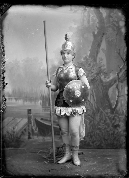 2008/165/1-192 Glass plate negative (1 of 193), portrait of a young woman dressed as Boadecia or Mother England, glass, photographer possibly Arthur Phillips, Australia, c. 1900. Click to enlarge.