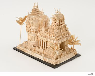 H7 Model, Indian temple, made from the pith of an Indian plant (Aeschynomene sesban - former name for Sesbania sesban), Madras (Chennai), India, mid to late 1880s