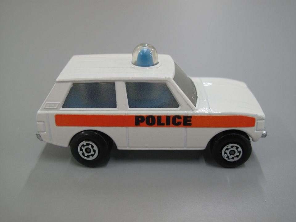85/1120-11 Toy, Matchbox police car, Police Patrol, Range Rover, No. 20, marked 'Police', Rolamatics, metal/plastic, made by Lesney Products and Co. Ltd, England, c. 1975. Click to enlarge.