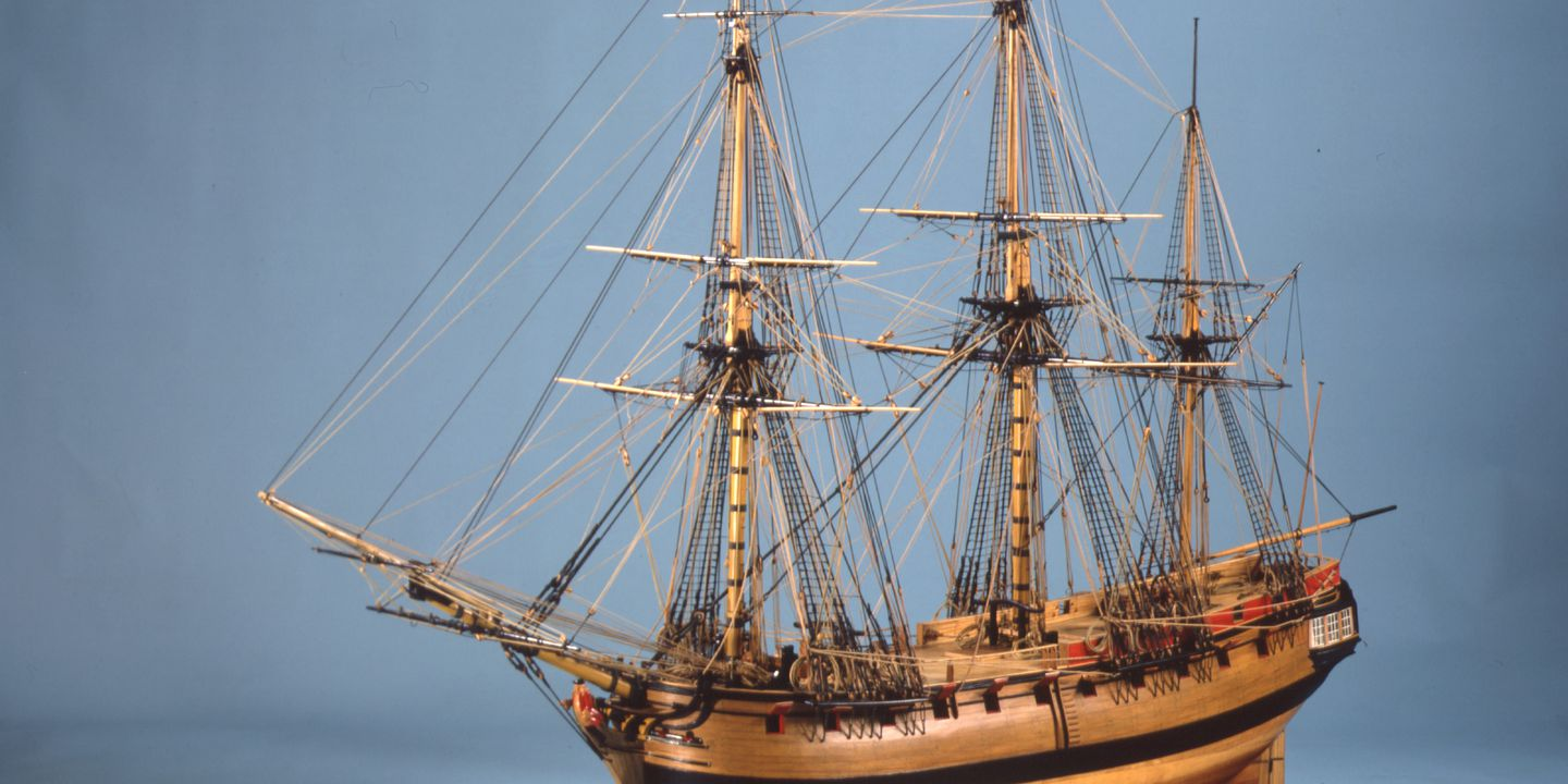 H4052 Ship model, HMS Sirius, armed storeship and flagship of First Fleet, 1:24 scale, timber/ brass, made by Geoffrey Ingleton RAN, for Sesqui-Centenary of arrival of First Fleet, Sydney, NSW, 1937-8. Click to enlarge.