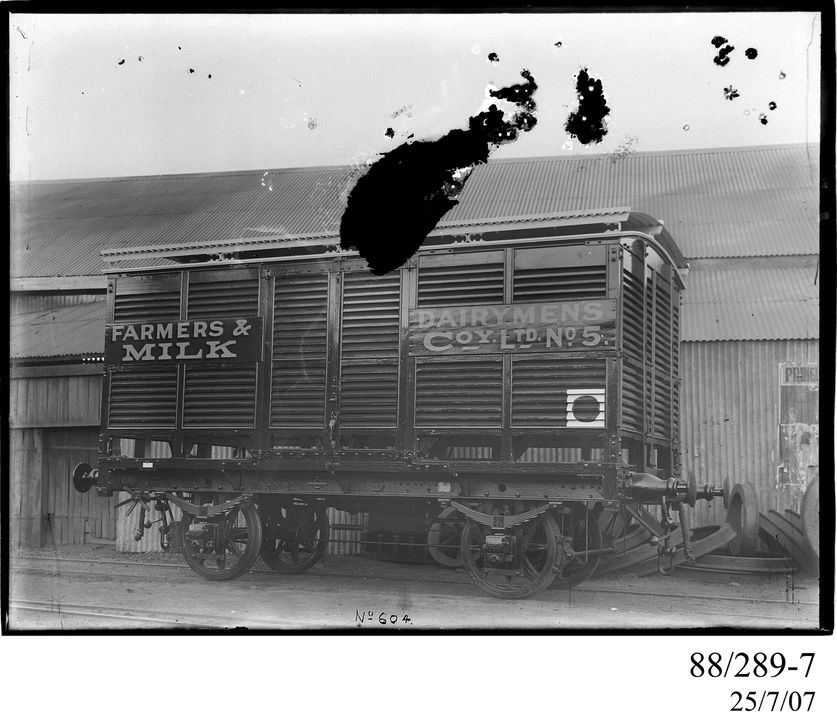 88/289-7 Photographic glass plate negative, depicting the standard gauge, 4-wheel, railway louvered van, No. 5, photograph by Clyde Engineering Co. Ltd, Granville, New South Wales, Australia, 1928-1929. Click to enlarge.