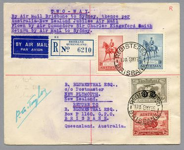 85/112-13 Philatelic cover, Australia to New Zealand on the aircraft 'Southern Cross', paper, sent by B Blumenthal, Brisbane, Queensland, Australia, 1935