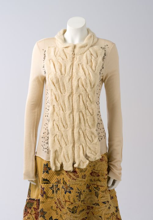 2011/43/80 Cardigan, womens, wool / alpaca / acrylic, designed and made by Akira Isogawa, worn by Catherine Martin, Sydney, New South Wales, Australia, c. 2004. Click to enlarge.