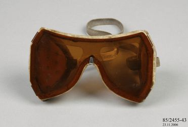 85/2455-43 Goggles, plastic / textile / metal, used by the Australian National Antarctic Research Expedition, Mawson Base, Antarctica, 1966