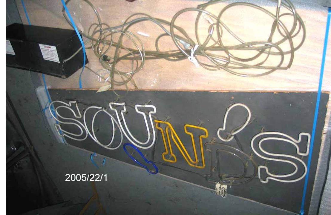 2005/22/1 Neon sign, 'SOUNDS', and attached power supply, wood / metal / glass / plastic / electrical components, used by Channel Seven on the television program 'Sounds', power supply made by Standard Electric Works, Hong Kong, 1986, neon sign made by Signcraft Neon Pty Ltd, Brookvale, New South Wa. Click to enlarge.