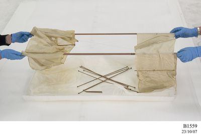 B1559 Box kite model, reproduction, based on 1893 design by Lawrence Hargrave, aluminium / silk / wire, commissioned by QANTAS Airways, Australia, pre 1964