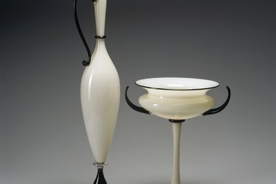 98/162/1 Jug, 'Ivory Pair', glass, made by Dante Marioni, Seattle, Washington, United States of America, 1996