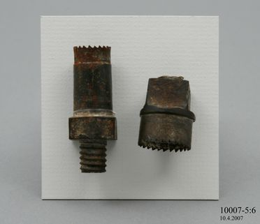 10007-5 Tubular saw for cutting button blanks from pearl shell, part of a didactic display, metal, maker unknown, Sydney, Australia, 1875-1885