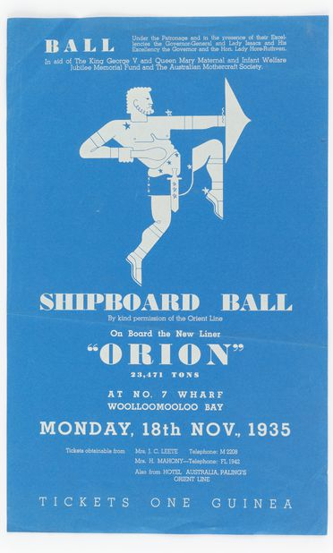 90/58-1/7/64 Poster, 'Shipboard Ball', paper, designed by Douglas Annand for Orient Steam Navigation Company Limited (Orient Line), Sydney, New South Wales, Australia, 1935