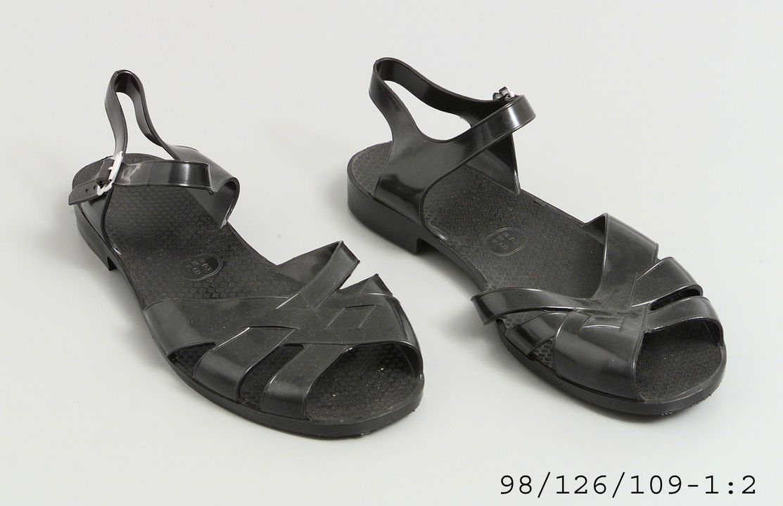 Chinese plastic sandals made by prisoners MAAS Collection