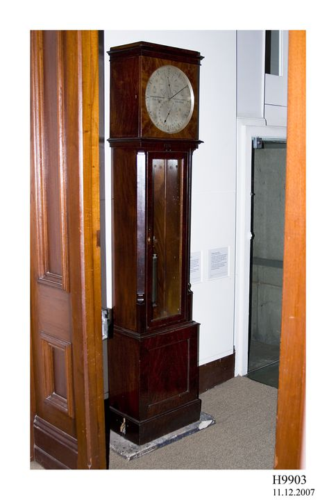 H9903 Sidereal regulator clock, wood / metal / glass, made by Charles Frodsham, London, England, 1835-1885, used at Sydney Observatory, Sydney, New South Wales, Australia. Click to enlarge.