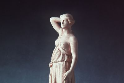 2824 [WEB APPROVED] Figurine, draped woman, plinth inscribed with 'Diana', terracotta, made by John Broad, for Doulton & Watts, Lambeth, London, England, c.1880