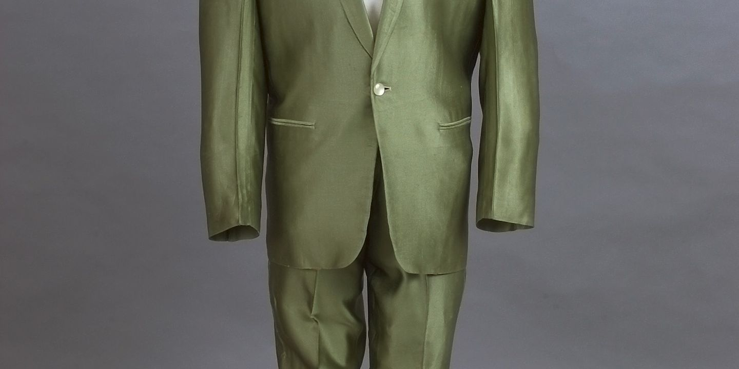 98/132/1 Performance costume, rock music, jacket and trousers, cloth, used by Col Joye, Andy Ellis Exclusive Mens Wear, Australia, 1958-1961. Click to enlarge.