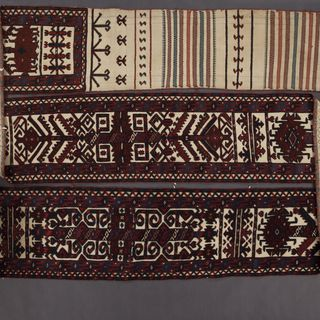 85/198 White-ground tent band or ak yap, knotted pile, animal hair / cotton, woven by a Yomut Turkmen woman, Turkmenistan (then part of western or Russian Turkestan), Central Asia, late 1800s