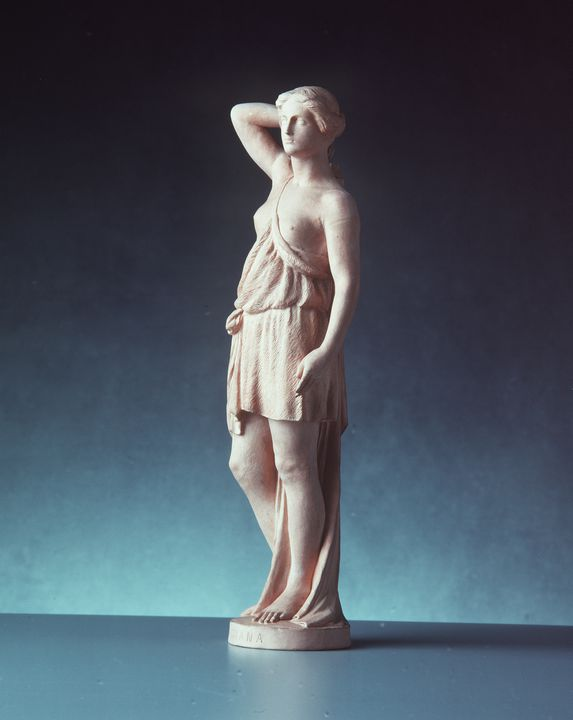 2824 [WEB APPROVED] Figurine, draped woman, plinth inscribed with 'Diana', terracotta, made by John Broad, for Doulton & Watts, Lambeth, London, England, c.1880. Click to enlarge.