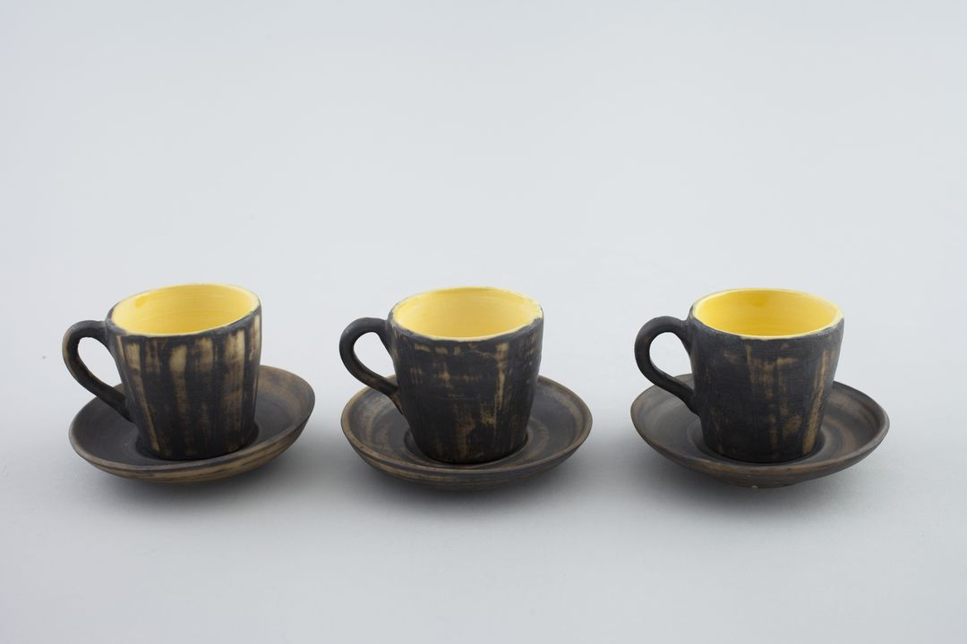 Coffee cups (3) and saucers (3), stoneware, made by ...