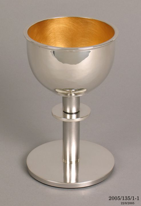 2005/135/1 Prototype communion cup and communion plate, silver / gold plate / polymer nylon, for St Patrick's Cathedral, Parramatta, New South Wales, Australia, designed and made by Hendrik Forster, Nungurner, Victoria, Australia, 2001. Click to enlarge.