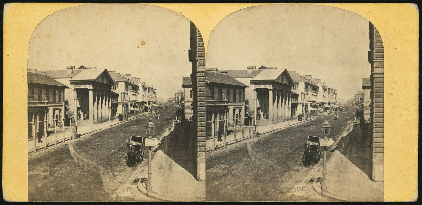 87/1019-7 Photographic print, mounted stereoview of Post Office George Street Sydney, paper / albumen / silver / ink, published by William Hetzer, Sydney, New South Wales, Australia, 1860-1863. Click to enlarge.