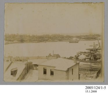 2005/124/1-5 Photograph, part of collection owned by James Short, sepia toned, possibly depicting Woolloomooloo Bay, paper, photographer unknown, Sydney, New South Wales, Australia, possibly 1890