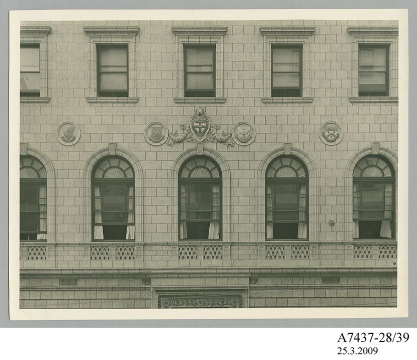 A7437-28/39 Photographic print, black and white, external detail of the University Club, Sydney, New South Wales, E A Bradford, Sydney, New South Wales, Australia, 1935. Click to enlarge.