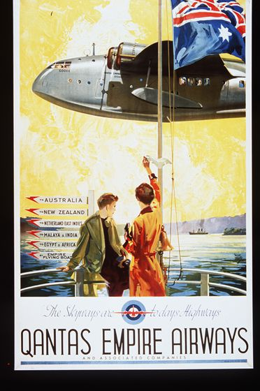 90/682 Poster, colour photolithograph, 'The Skyways are todays Highways', paper, commissioned by Qantas Empire Airways, Queensland, Australia, designed by Walter Jardine, Australia, printed by Boylan & Co Pty Ltd, Sydney, New South Wales, Australia, 1939