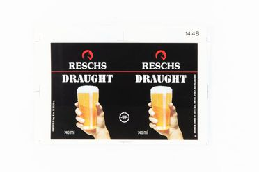 86/4522-6 Proof, Reschs Draught packaging, colour print, photographic paper, designed by Pieter Huveneers for Tooth and Company Limited, Sydney, New South Wales, Australia, c. 1979