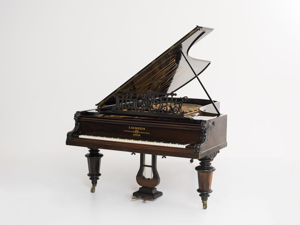2014/66/1 Concert grand piano, timber / metal / ivory, made by Carl Bechstein, Berlin, Germany, 1878, exhibited in the Sydney International Exhibition, New South Wales Australia, 1879. Click to enlarge.