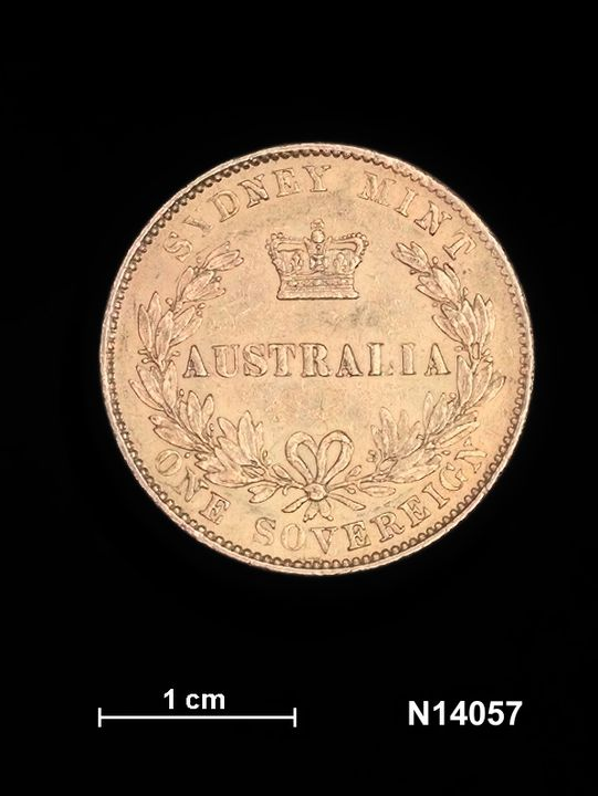N14057 Coin, Australia, Sydney, Queen Victoria (1837-1901). Sovereign, 1864, gold, type 2, Sydney Mint. (CI).. Click to enlarge.