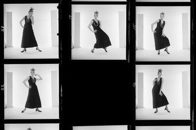 2009/43/1-5/5/14 Negatives, black and white, square 6 x 6 cm and rectangular 6 x 7 cm format, ' BETTINA [underlined] BLACK FUR DRESS & APRE SKI', photographs by Bruno Benini, Melbourne, Victoria, Australia, 1 April 1969