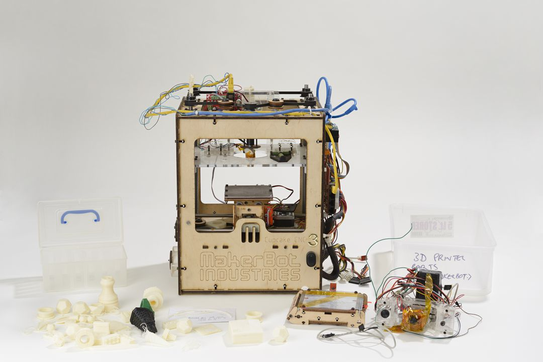 2017/14/1 User assembled 3D printer, 'Cupcake CNC', and accessories, wood / metal / circuitry / wiring, designed by MakerBot Industries, New York, United States of America, 2009, made and owned by Gavin Smith, Sydney, New South Wales, Australia, 2009, used by Gavin and Robots and Dinosaurs, Sydney. Click to enlarge.