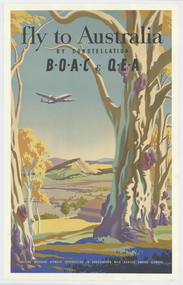 93/300/2 Poster, 'Fly to Australia by constellation BOAC & QEA', paper, designed by Stanley Herbert, England, commissioned by British Overseas Airways Corporation, England, 1947-1957