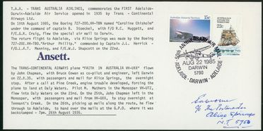 86/102-19 Philatelic cover, TAA commemorative flight of 'Flight in Australia', paper, emvelope made by Ansett Airlines, Melbourne, Victoria, Australia, 1985