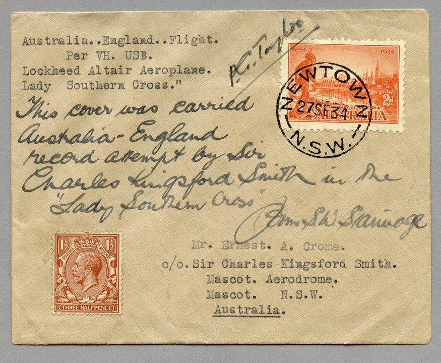 85/112-5 Philatelic cover, Australia to UK via 'Lady Southern Cross', signed, paper, maker unknown, used by E Crome, Australia, 1934. Click to enlarge.