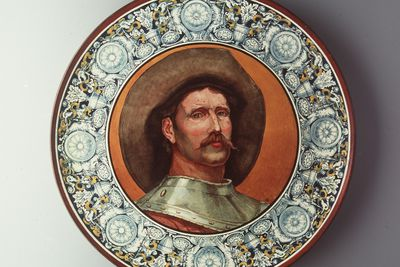 2815 Plaque, with a portrait of a man, earthenware, faience glaze, hand-painted by James Cruikshank, Doulton & Co, Lambeth, London, England, c.1880.