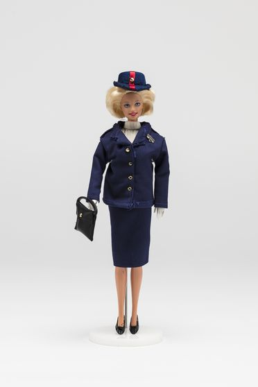 2010/70/1-16 Doll, Barbie wearing Qantas uniform with 'Redback' hat, plastic / textile, doll made by Mattel, probably Indonesia, 1998, design based on original Qantas uniform designed by Madame Germaine Rocher, 1971-1974,  made by John Willmott-Potts, Young, New South Wales, Australia, 1998-2010