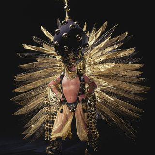 96/305/1 Costume, Gay and Lesbian Mardi Gras, 'Arabesque', mixed media, designed and made by Ron Muncaster, used by Jacques Straetnans, Sydney, 1992