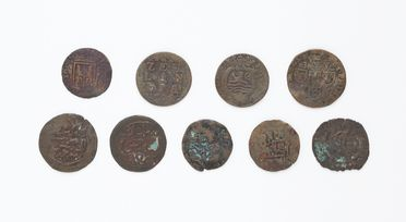 N21359 Coins (9), Australia, Marchinbar, N. E. Arnhemland. Comprising 5 ex Kilwa Sultanate (AD 1294-1493) and 4 European low countries (AD 1690-1784), with photograph (undated) and documents, 1982-1984