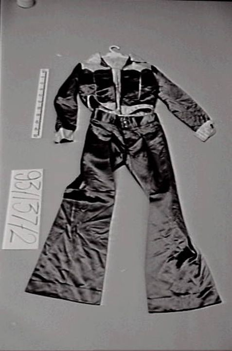 93/137/2 Stage costume, jacket and pants, men's, 'Sherbet', satin, made by Atelier 15, worn by Garth Porter, Melbourne, Australia, 1974-1975. Click to enlarge.