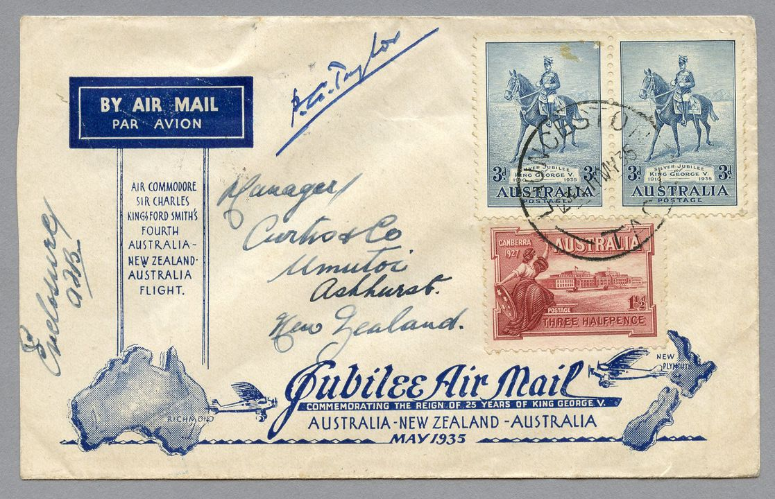85/112-10 Philatelic cover, Jubilee air mail Australia to New Zealand, from Launceston, paper, maker unknown, Australia, 1935. Click to enlarge.