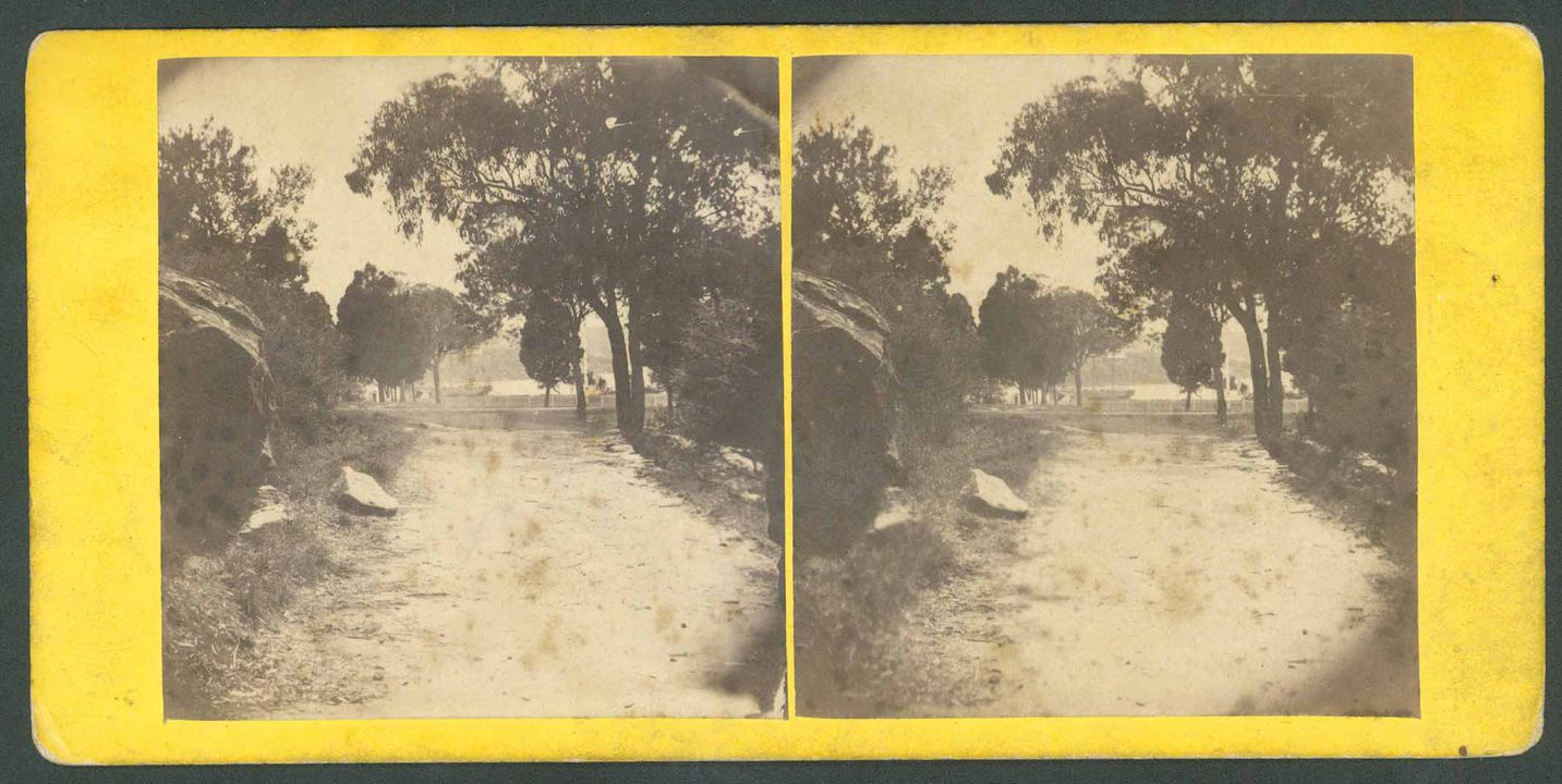 H9248-4 Photographic print (stereoscopic), exterior view, 'Macquarie Fort', paper / albumen / silver, mounted on yellow card, publisher unknown, Sydney, New South Wales, 1860-1870. Click to enlarge.