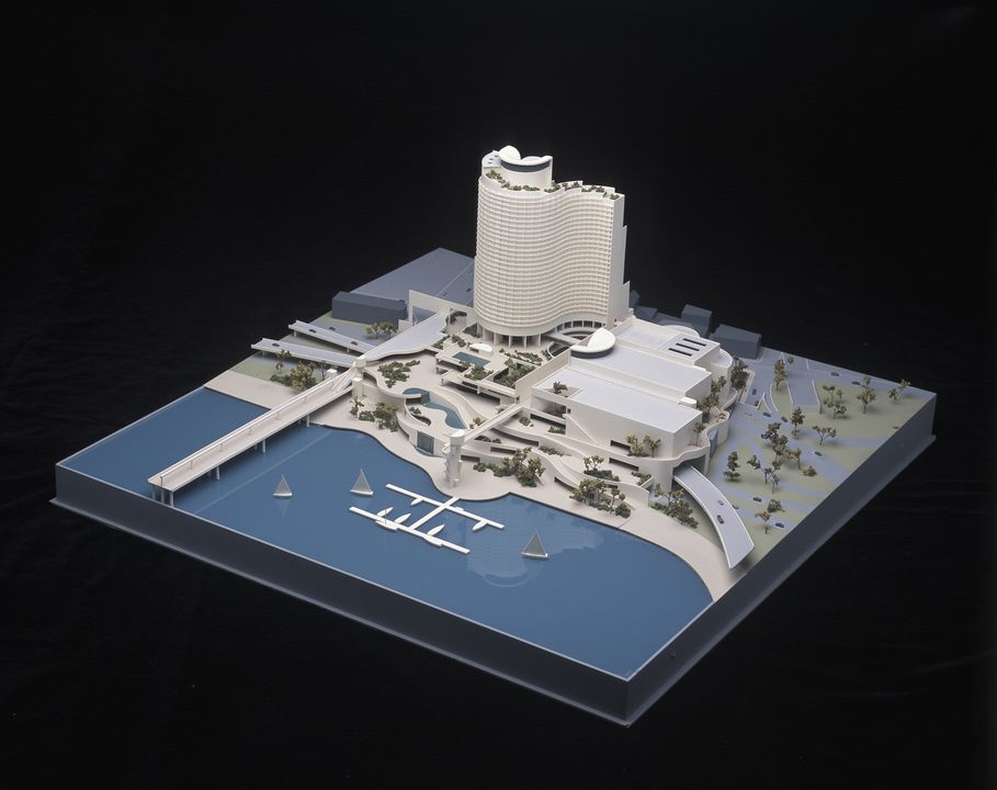 97/190/6-1 Architectural model and perspex cover, 'Darling Harbour Hotel Casino Competition', plastic/paper, designed by Harry Seidler and Associates, made by Arcmod Models Pty Ltd, Sydney, 1986.. Click to enlarge.