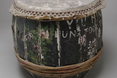 2003/114/6 Drum and beaters (2), wood / bamboo / leather / metal / paper, maker not recorded, used by the Yiu Ming Society, Sydney, New South Wales, Australia, 1910 - 1990