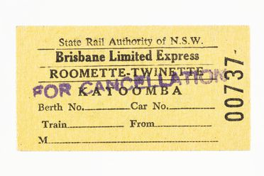 87/897-6 Railway ticket (1 of 311), 'Brisbane Limited Express', 'Katoomba', paper, Public Transport Commission NSW, New South Wales, Australia, 1972-1980
