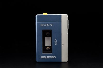 2003/165/1 Audio cassette player, Sony Walkman model TPS-L2, metal /plastic / fabric / electronic components, designed by the Sony Design Centre, created by Akio Morita, Masaru Ibuka (the co-founders of SONY) and Kozo Ohsone, made by Sony Corporation, Japan, 1979