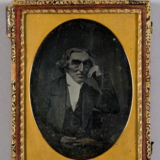 H5249-19 Photographic positive, studio portrait, daguerrotype of an unidentified man mounted in case, collodion / paint / glass / wood / paper / metal / velvet, photographer unknown, 1855-1865