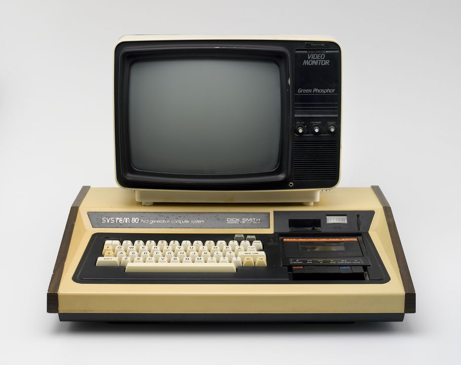 2012/106/1 Personal computer and visual display unit, 'Dick Smith System 80', plastic / wood / glass / electronic components, made by Dick Smith Electronics Pty Ltd, Hong Kong / Korea, 1980. Click to enlarge.